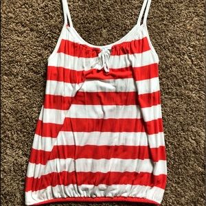 Old Navy Orange and White Striped Tank Top